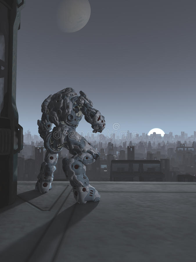 Framtida stad - robotvaktpost på månelöneförhöjningen stock illustrationer
