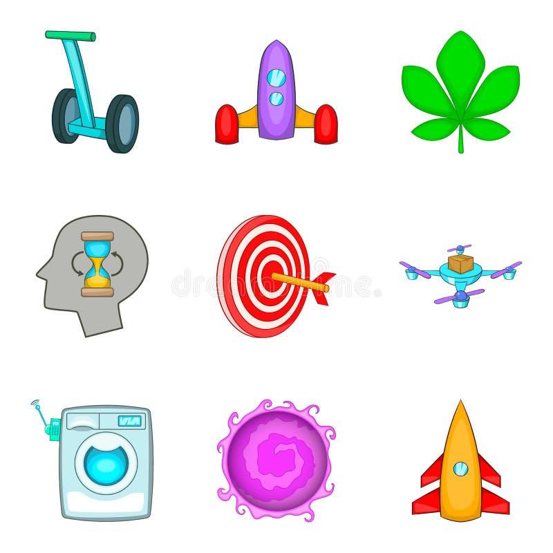 Framtida techsymboler uppsättning, tecknad filmstil royaltyfri illustrationer