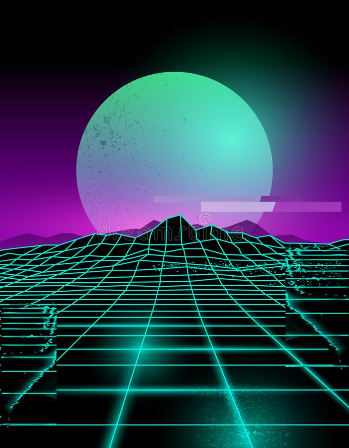 Framtida tekniskt felbakgrund för neon vektor illustrationer