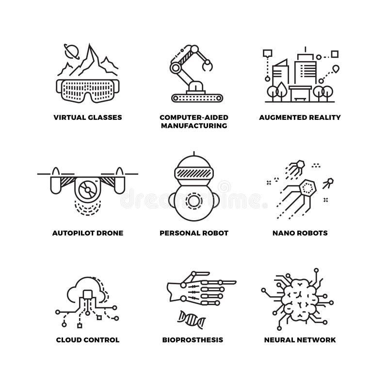 Framtida teknologi och konstgjord intelligens för robot skisserar vektorsymboler royaltyfri illustrationer
