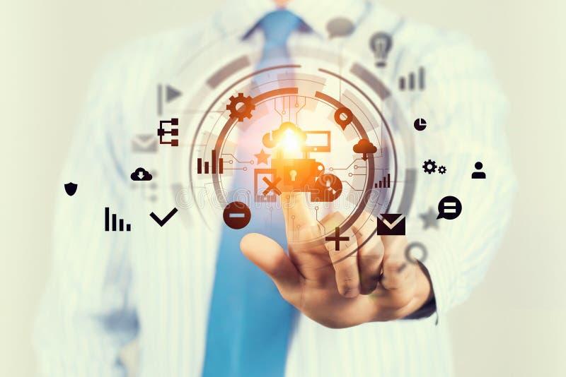 Framtida teknologi som är i bruk Blandat massmedia royaltyfri foto