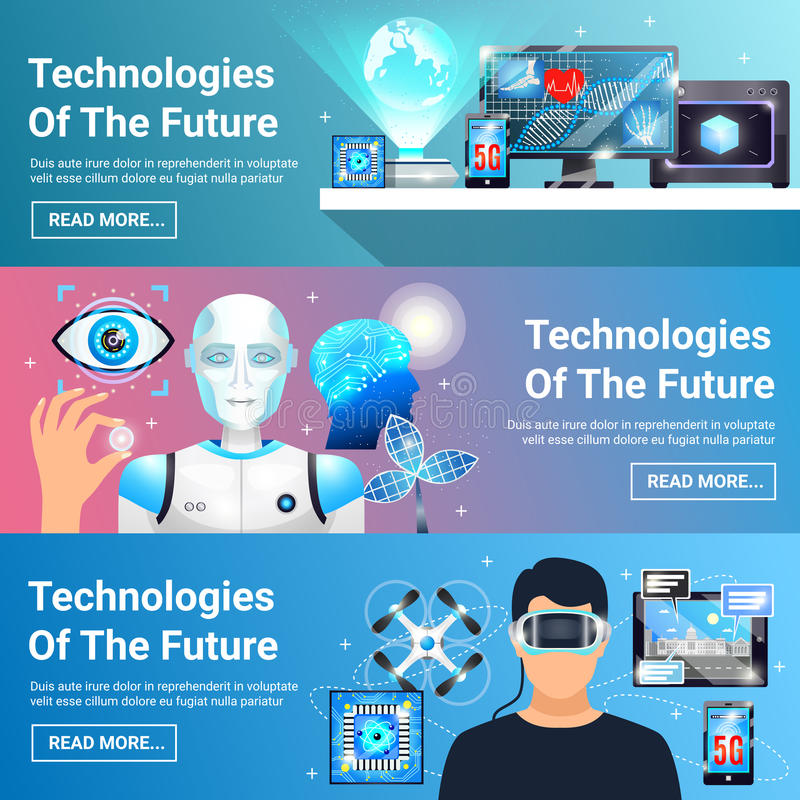 Framtida teknologibaneruppsättning stock illustrationer