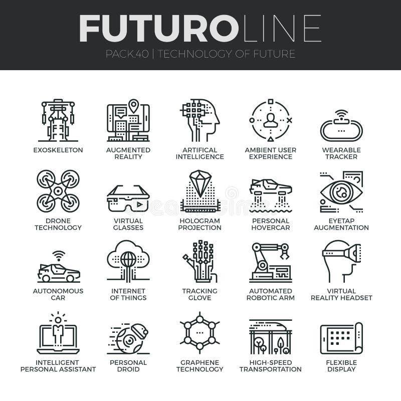Framtida teknologiFuturo linje symbolsuppsättning stock illustrationer