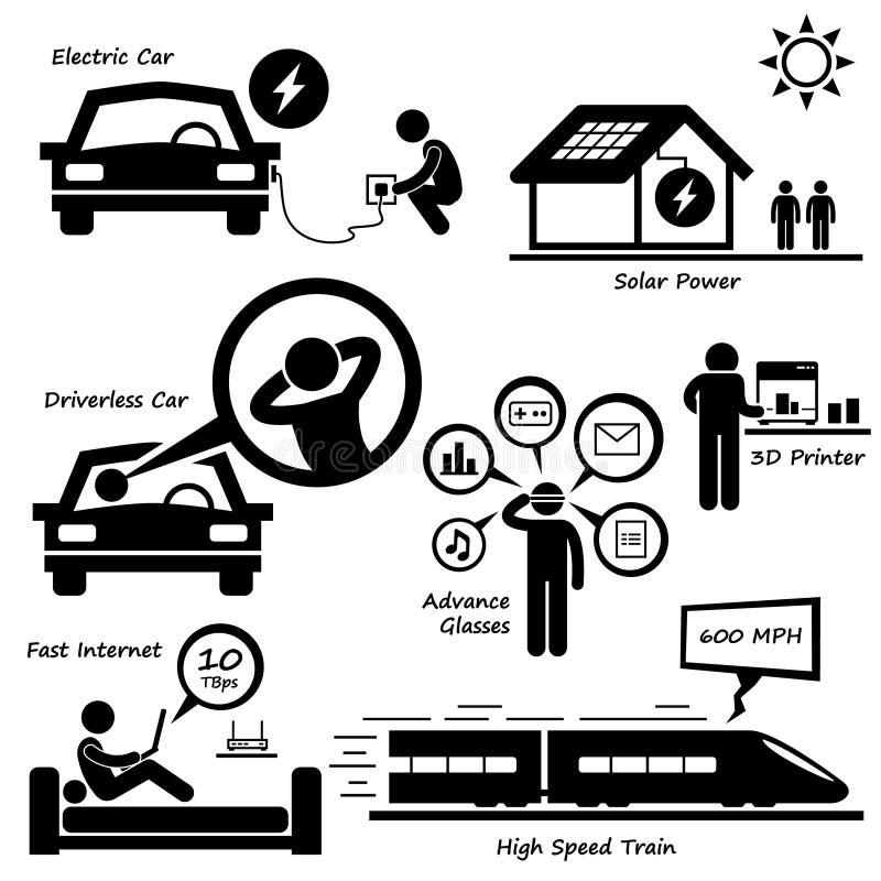 Framtida teknologisymbol Cliparts vektor illustrationer
