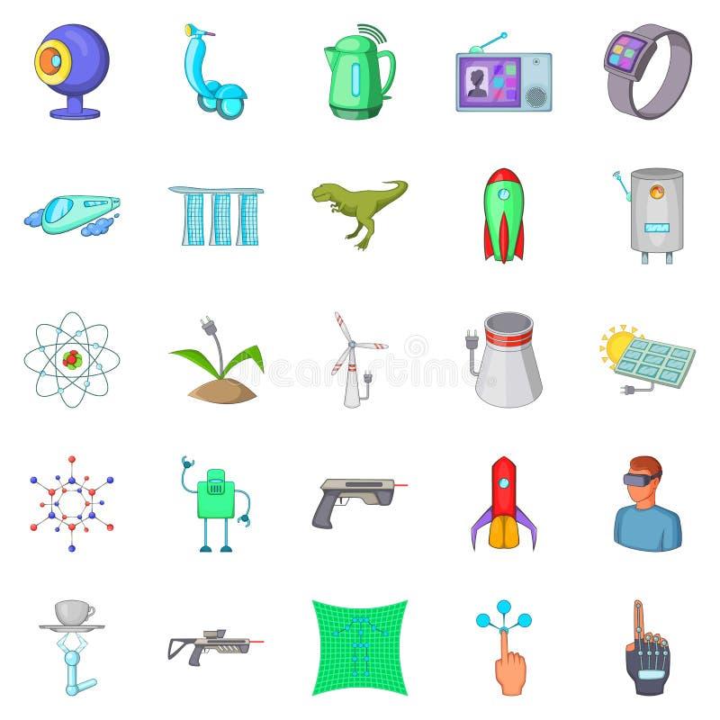 Framtida teknologisymboler uppsättning, tecknad filmstil stock illustrationer