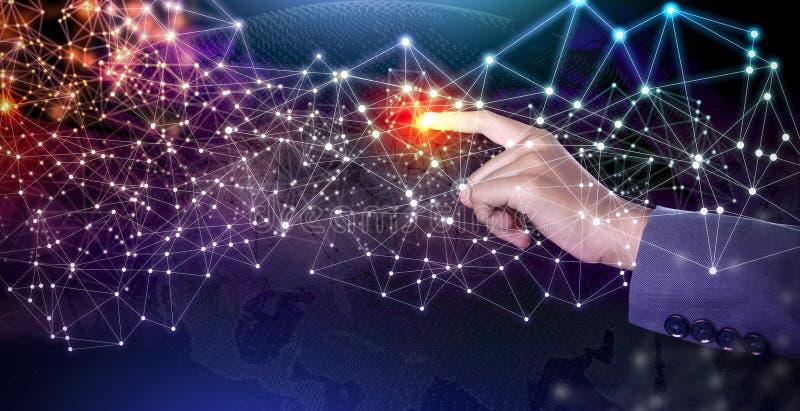 Framtida trådlöst kommunikationsbegrepp AI: Konstgjord intelligens arkivbilder