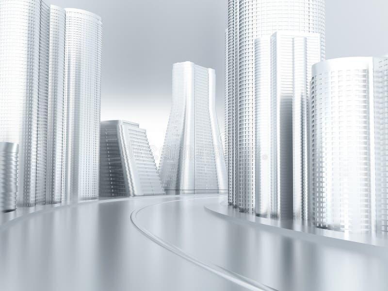 framtida vägvänd för stad royaltyfri illustrationer