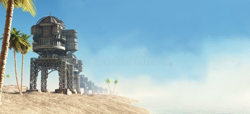 Framtida värld - seafronten stock illustrationer