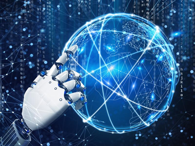 Framtida vision av en robothand framförande 3d stock illustrationer