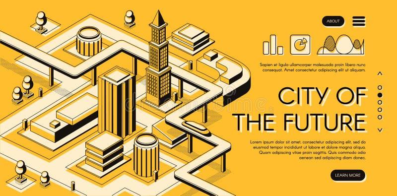 Framtida webbsida för vektor för stadsinfrastrukturprojekt stock illustrationer