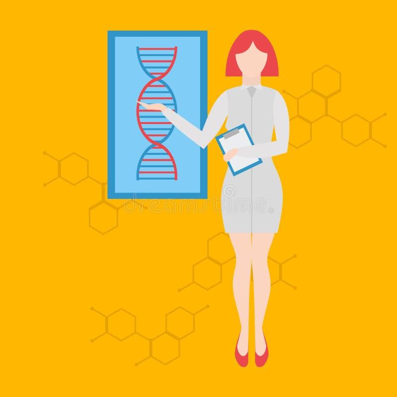Framtida yrken Genetisk lägerledare för futuristisk ockupation Framtidsdoktorer och sjuksköterskor och medicinsk personal medicin stock illustrationer