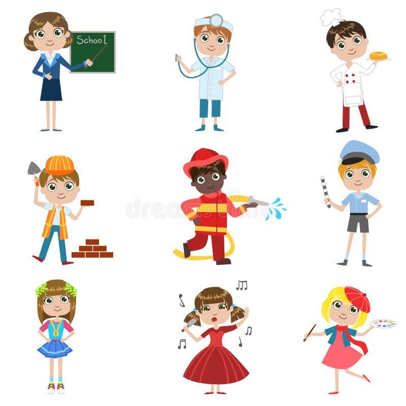 Framtida yrkeuppsättning för barn vektor illustrationer