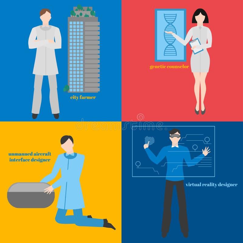 Framtida yrkeuppsättning Futuristisk ockupation Man med VR-hörlurar med mikrofon Märkes- virtuell verklighet Stadsbonde genetiskt stock illustrationer