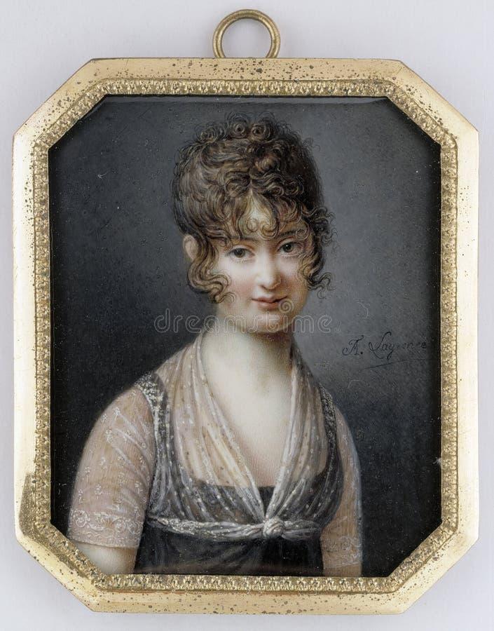 "François Lagrenée ( 1774†""1832): Stående av en dam-/Naisen muotokuva/Porträtt av en-kvinna royaltyfri bild"