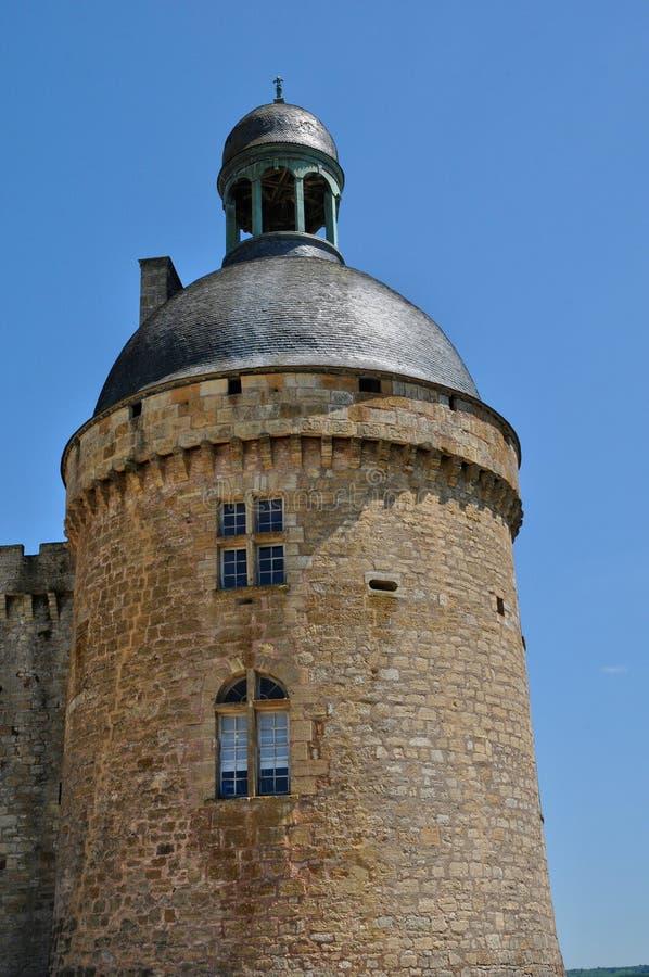 França, castelo de Hautefort em Dordogne foto de stock royalty free