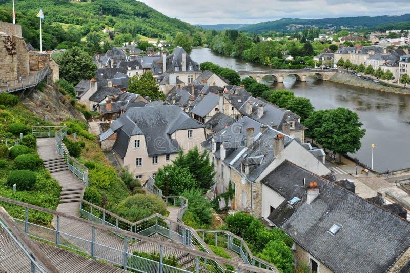 França, cidade de Terrasson Lavilledieu em Dordogne fotografia de stock royalty free