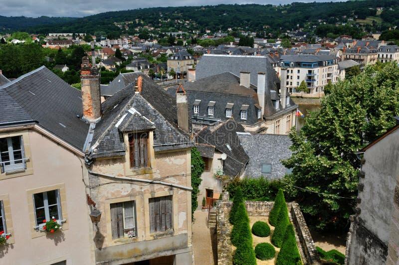 França, cidade de Terrasson Lavilledieu em Dordogne imagens de stock