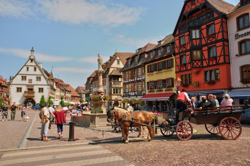 França, cidade velha pitoresca de Obernai imagem de stock