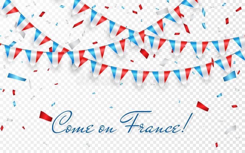 França embandeira o fundo branco da festão com confetes, estamenha do cair para a bandeira do molde da celebração do dia nacional ilustração royalty free