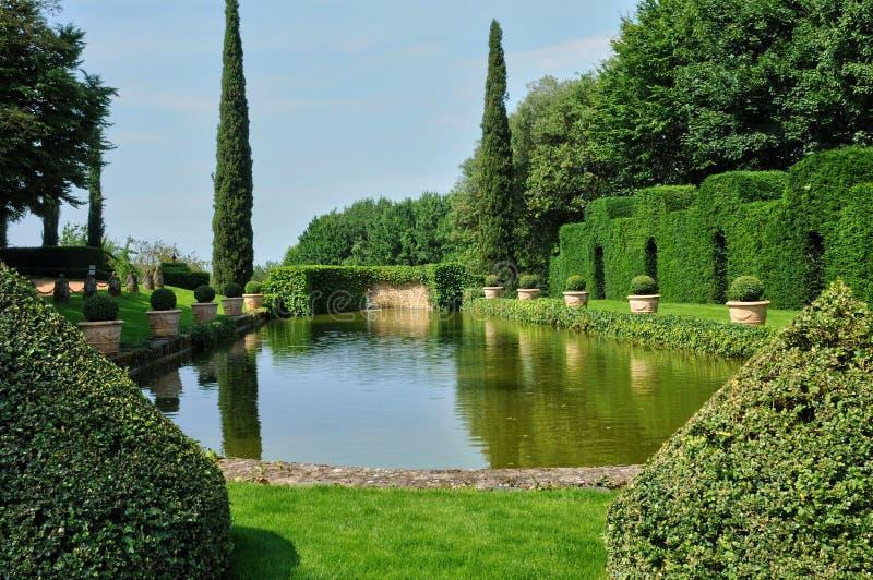 França, Jardins pitoresco du Manoir d Eyrignac em Dordogne imagens de stock