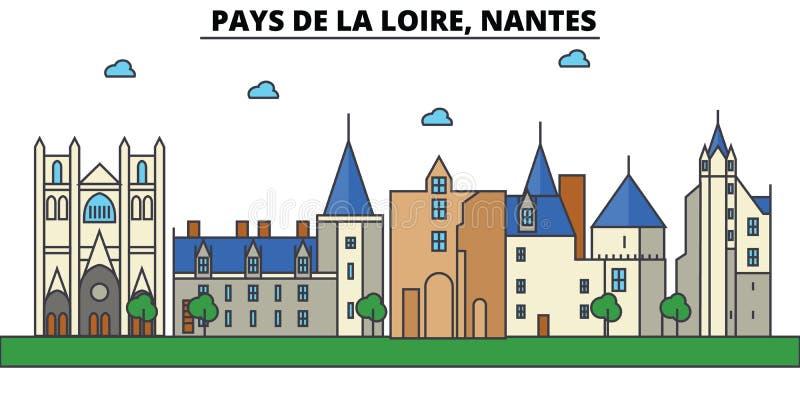 França, Nantes, Pays de la Loire Arquitetura da skyline da cidade ilustração royalty free