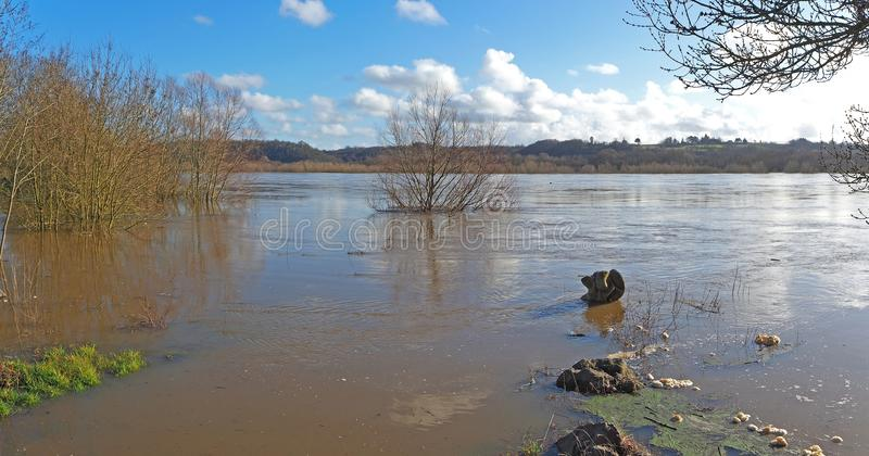 França, o Rio Loire de transbordamento perto de Nantes fotos de stock royalty free