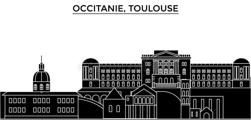 França, Occitanie, skyline da cidade do vetor da arquitetura de Toulouse, arquitetura da cidade do curso com marcos, construções, ilustração stock