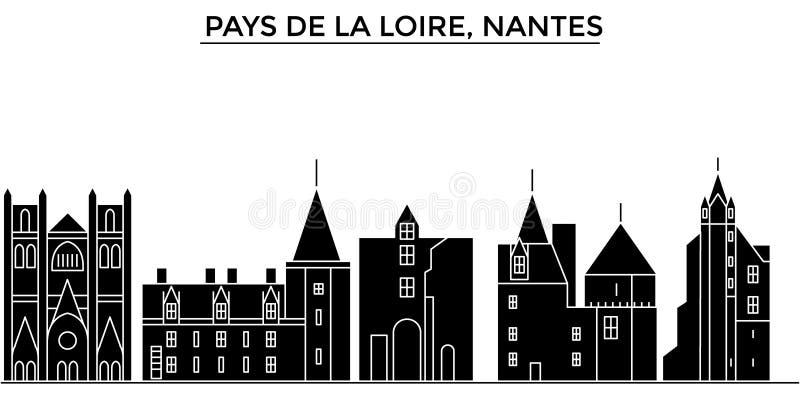 França, Pays de la Loire, skyline da cidade do vetor da arquitetura de Nantes, arquitetura da cidade do curso com marcos, constru ilustração royalty free