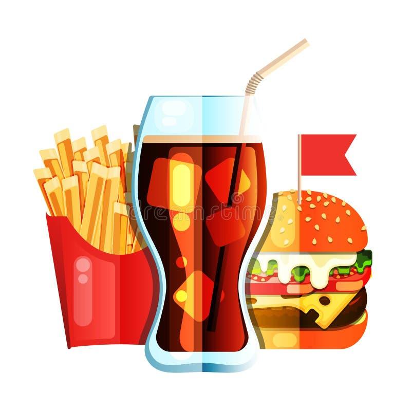 Français de friture avec l'hamburger et la conception plate de soude illustration stock