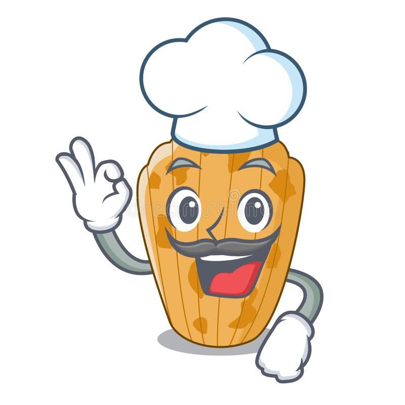 Français de Madeleine de gâteau de chef d'isolement sur la mascotte illustration stock