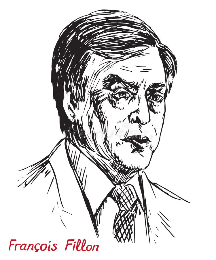 François Charles Amand Fillon, politician, Prime Minister of France 2007-2012, nominee of The Republicans for the 2017 president. Drawn by hand 2d vector illustration