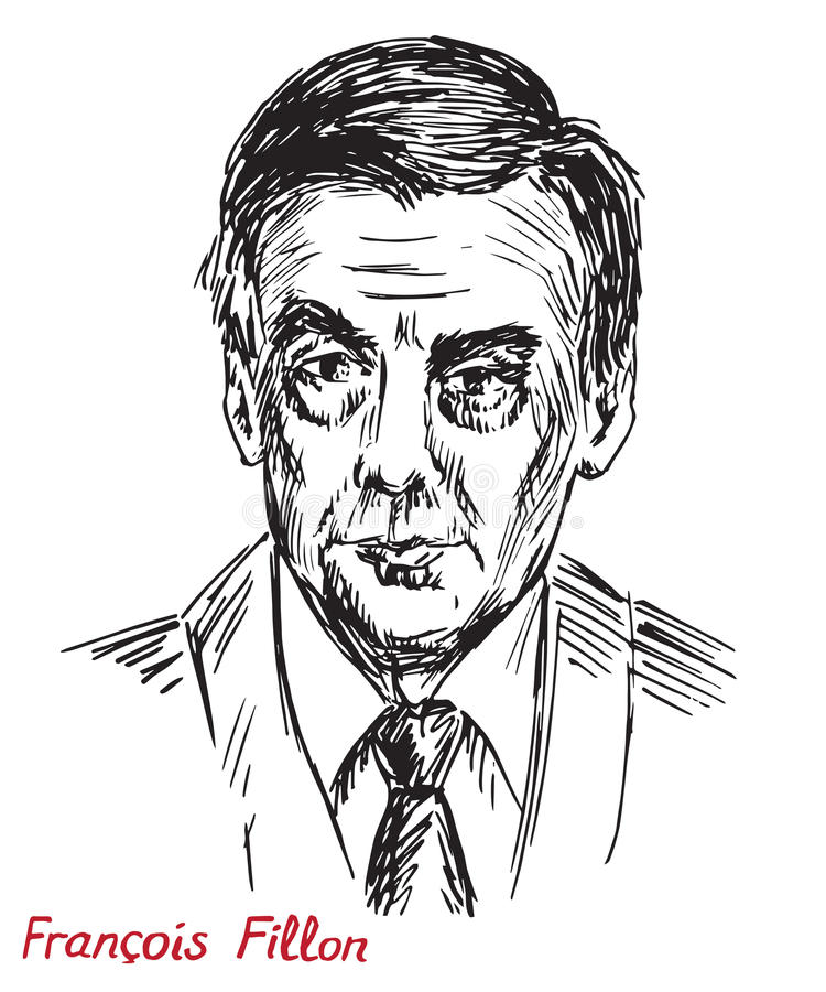 François Charles Amand Fillon, politician, Prime Minister of France 2007-2012, nominee of The Republicans for the 2017 president. Drawn by hand 2d stock illustration
