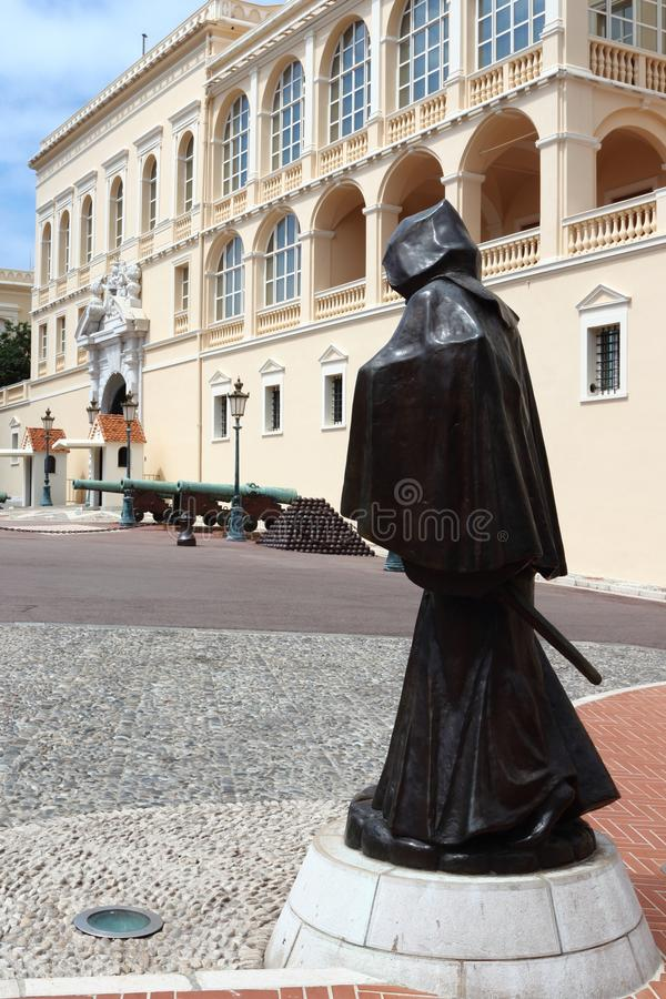 François Grimaldi statue, Monaco City. The Prince`s Palace of Monaco, built in 1191 as a Genoese fortress, is the official residence of the Sovereign Prince stock photos
