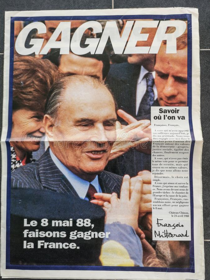 François Mitterrand 1988 political leaflet and flier, 1988 French presidential election vintage poster. And tract stock photography