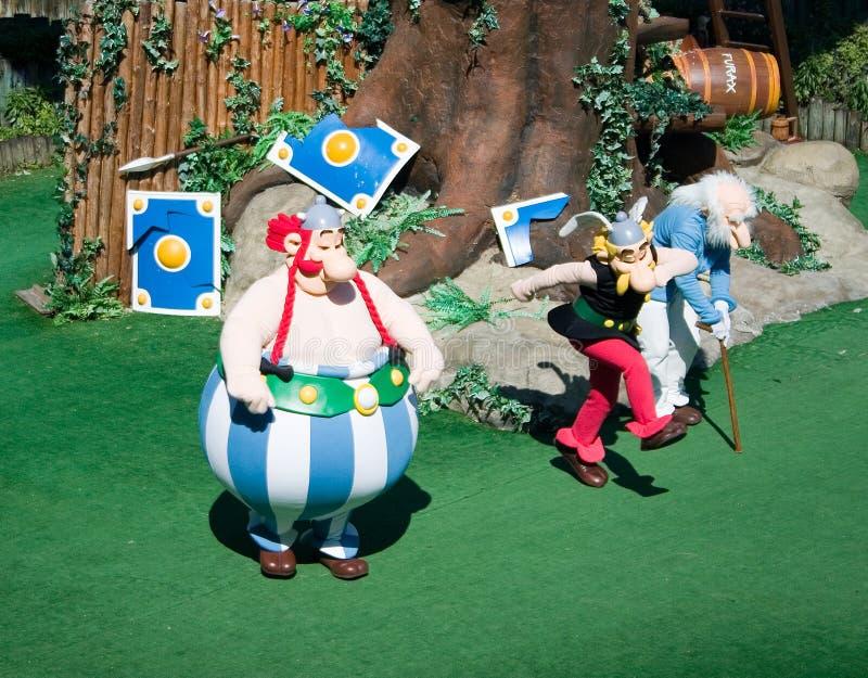 Francés-Parque Asterix-Asterix, Obelix y Panoramix   fotografía de archivo libre de regalías
