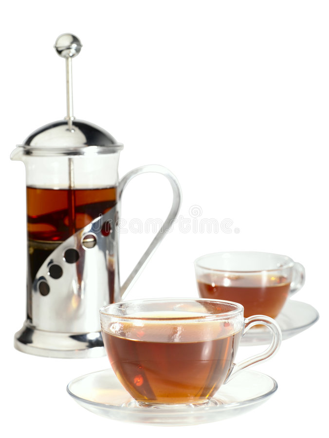 Francés-presione con las tazas de los pares de té fotografía de archivo libre de regalías