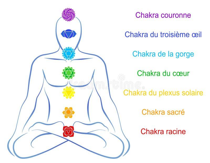 Francês da descrição do homem de Chakras ilustração stock