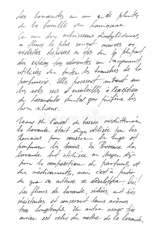 Francês indeterminado do texto Letra escrita à mão handwriting foto de stock royalty free