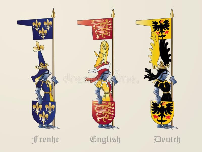 Francês-inglês Deutch dos cavaleiros fotografia de stock