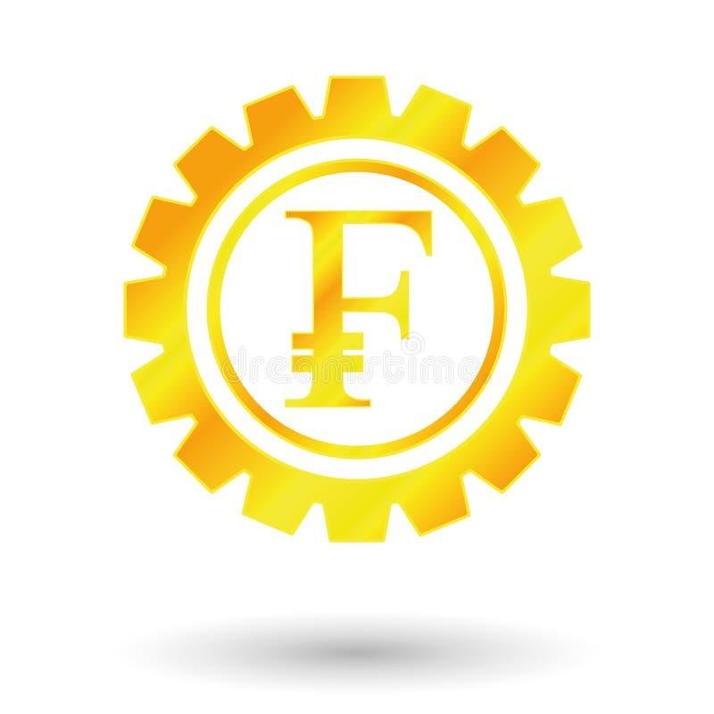 Franc de symbole d'or illustration stock