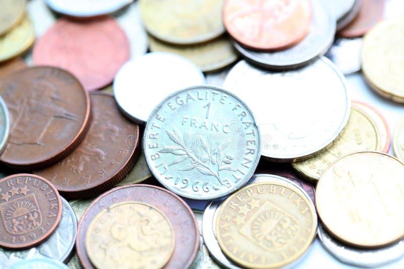 1 franc mynt arkivfoto