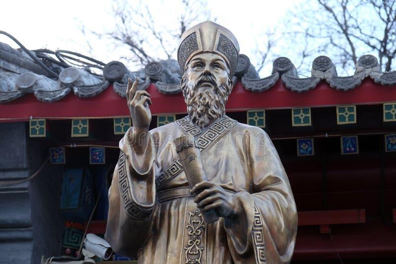 Franc Statue de Matteo Ricci dans le saint avant Joseph Cathedral dans Pékin images libres de droits