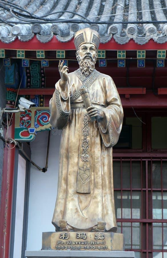 Franc Statue de Matteo Ricci dans le saint avant Joseph Cathedral dans Pékin image stock