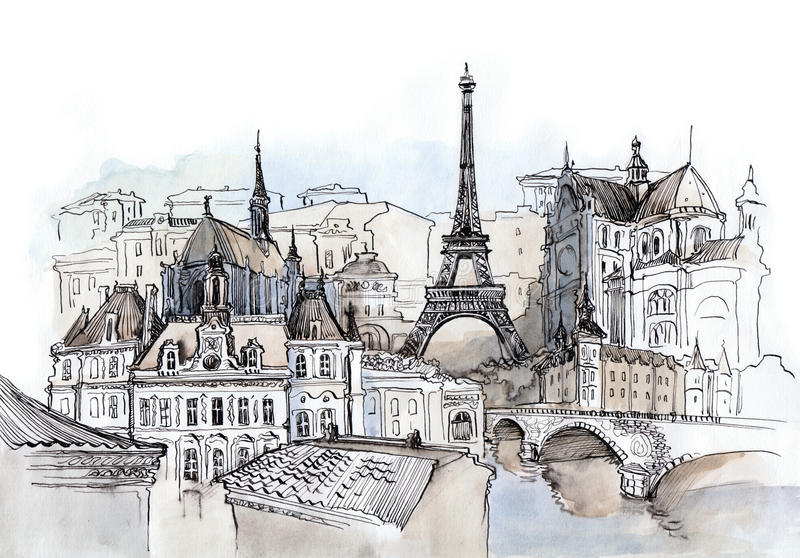France. Painting of French places of interest