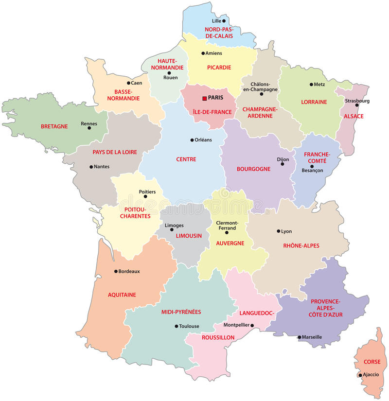 France administrative map. With regions and main cities royalty free illustration