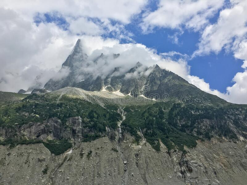 France, Alps Mountains, Viewpoint from Mer de Glace to Aiguille Verte Peak stock images