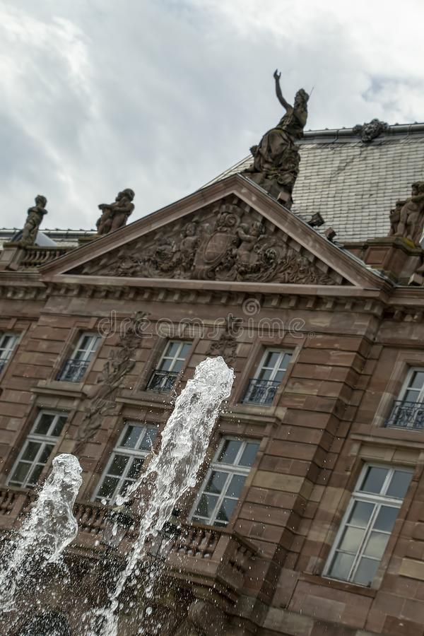 Fountains in front of the Bette in Place Kleber, Dutch Tilt royalty free stock photography