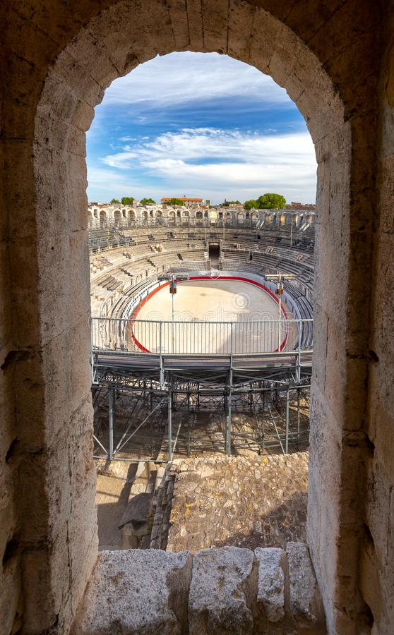 france Arles Vecchia arena romana antica dell'anfiteatro fotografie stock libere da diritti