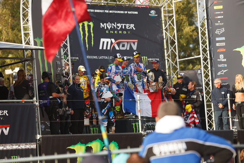 France as Champions Motocross of Nations 2014. Motocross of Nations 2014 Latvia Kegums 27 - 28.09.2014 royalty free stock photo