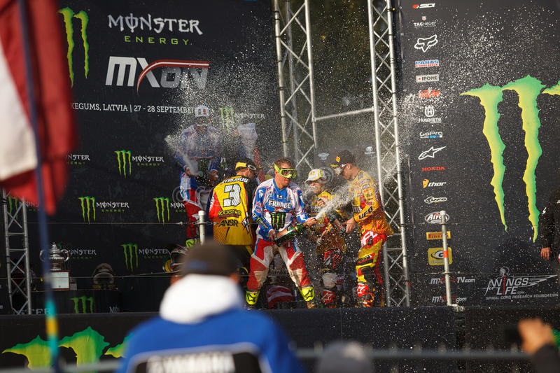 France as Champions Motocross of Nations 2014. Motocross of Nations 2014 Latvia Kegums 27 - 28.09.2014 stock image
